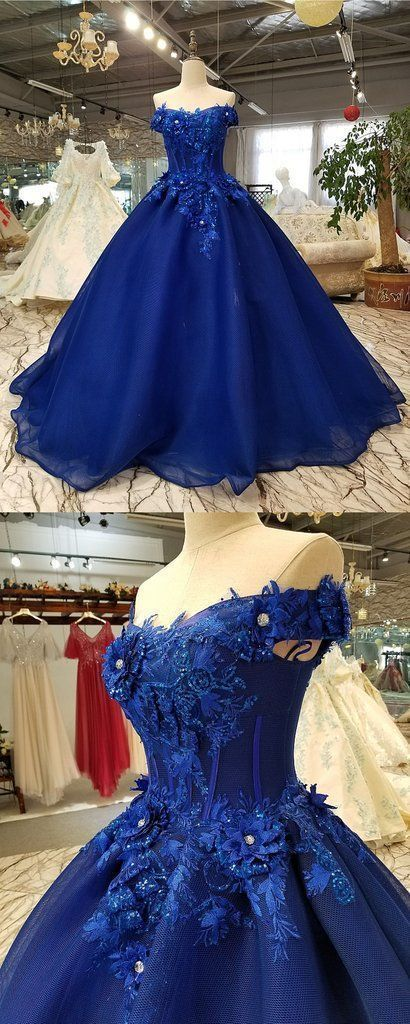 Off the Shoulder Appliques Tulle Evening Dress, Elegant Ball Gown Prom