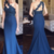 Charming Navy Blue Mermaid Evening Dress, Sexy One Shoulder Appliques Long Prom