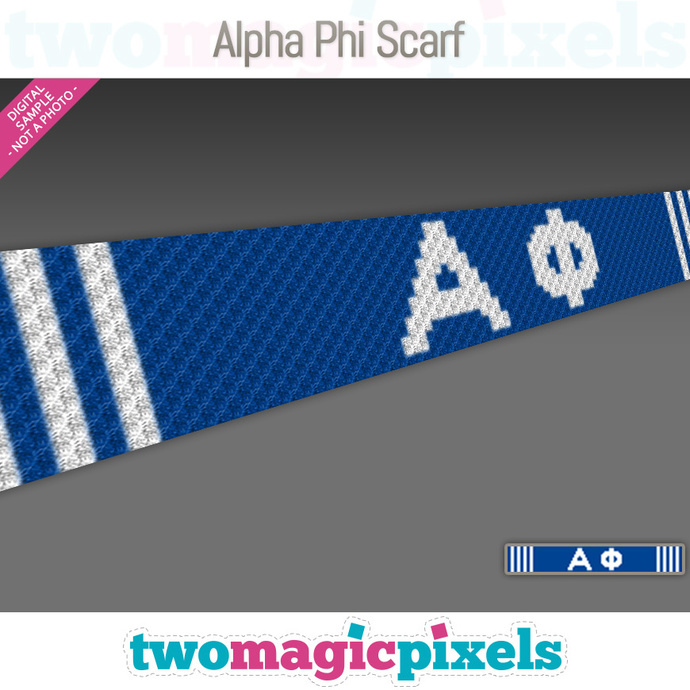 [C2C] Alpha Phi Scarf; crochet graph + row-by-row counts; instant PDF download