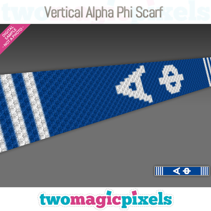 [C2C] Vertical Alpha Phi Scarf; crochet graph + row-by-row counts; instant PDF