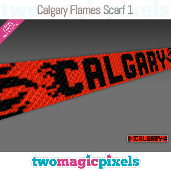 [C2C] Calgary Flames Scarf 1; crochet graph + row-by-row counts; instant PDF