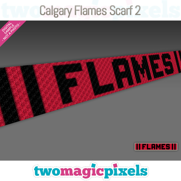 [C2C] Calgary Flames Scarf 2; crochet graph + row-by-row counts; instant PDF
