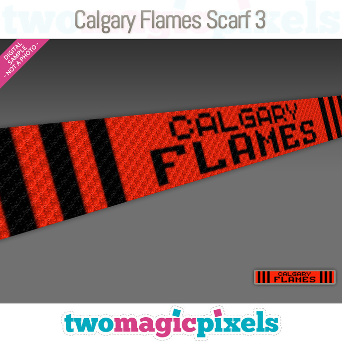 [C2C] Calgary Flames Scarf 3; crochet graph + row-by-row counts; instant PDF