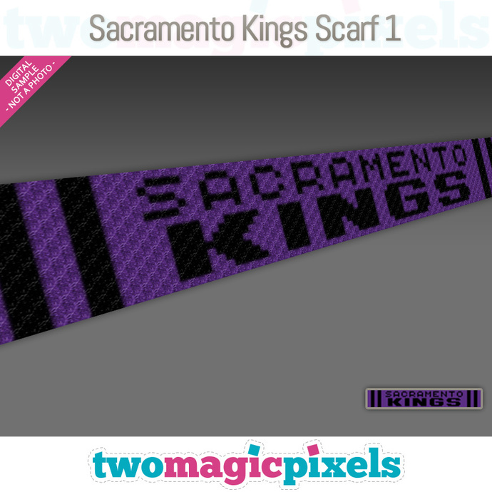 [C2C] Sacramento Kings Scarf 1; crochet graph + row-by-row counts; instant PDF