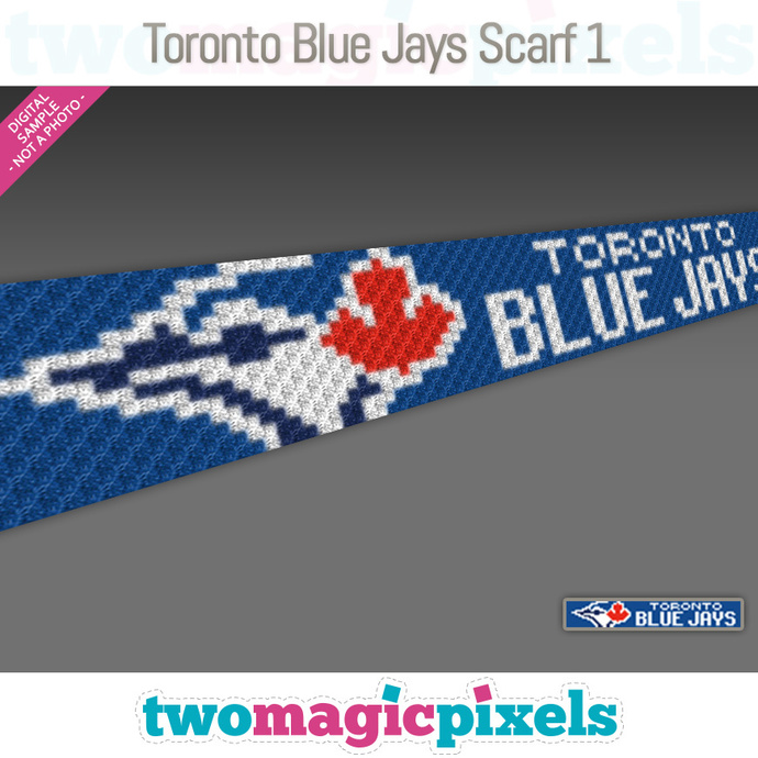 [C2C] Toronto Blue Jays Scarf 1; crochet graph + row-by-row counts; instant PDF