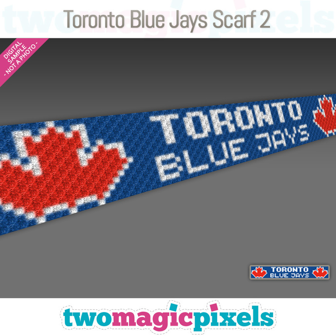 [C2C] Toronto Blue Jays Scarf 2; crochet graph + row-by-row counts; instant PDF