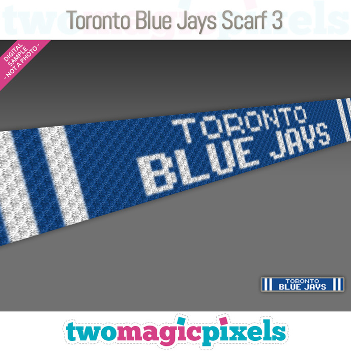 [C2C] Toronto Blue Jays Scarf 3; crochet graph + row-by-row counts; instant PDF