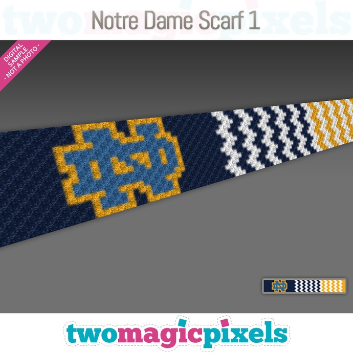 [C2C] Notre Dame Scarf 1; crochet graph + row-by-row counts; instant PDF