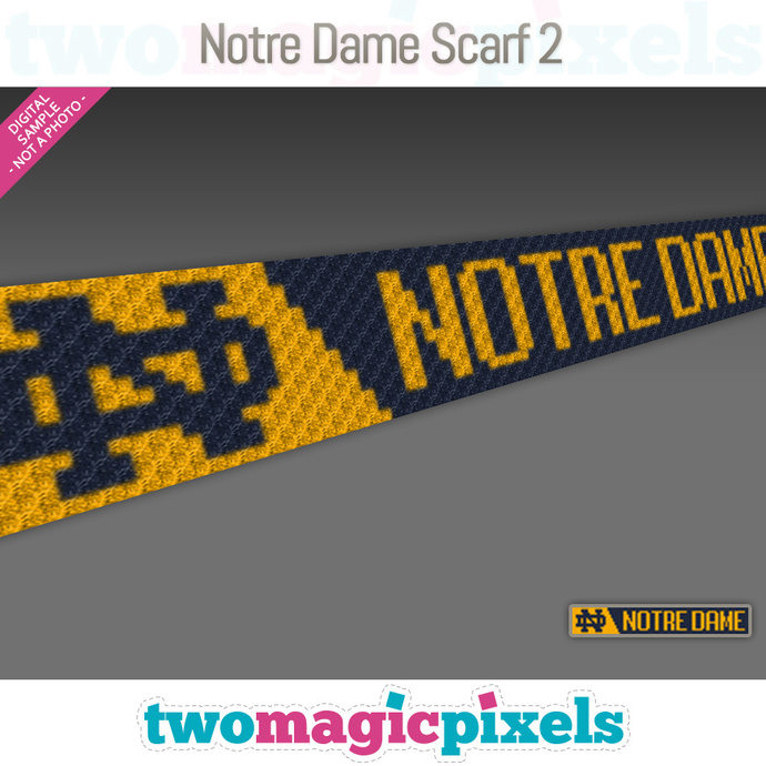 [C2C] Notre Dame Scarf 2; crochet graph + row-by-row counts; instant PDF
