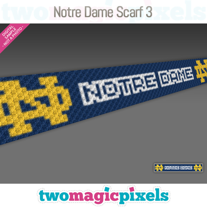 [C2C] Notre Dame Scarf 3; crochet graph + row-by-row counts; instant PDF