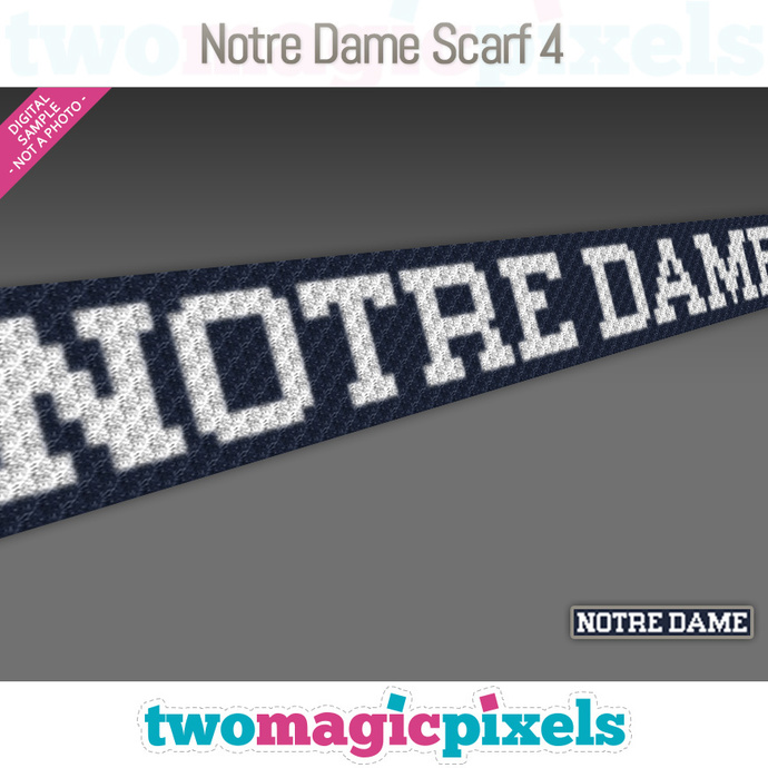 [C2C] Notre Dame Scarf 4; crochet graph + row-by-row counts; instant PDF