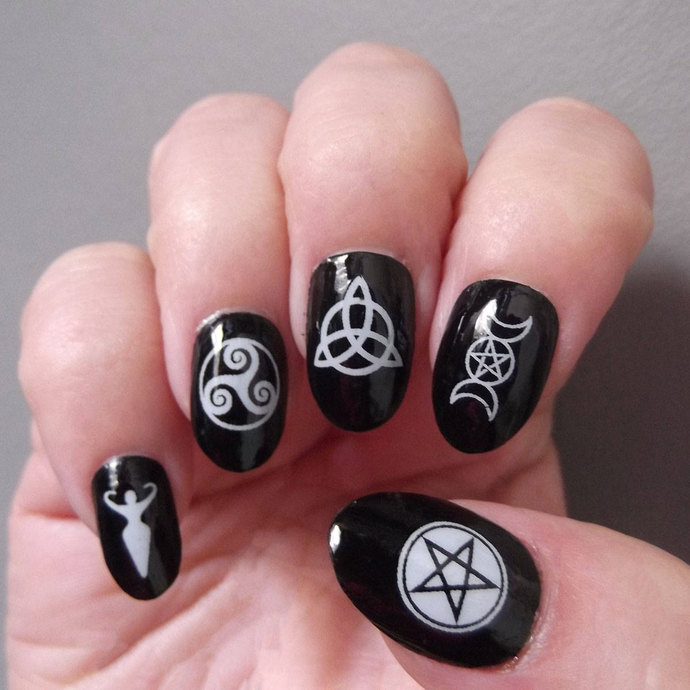 30 WHITE Mixed WICCAN Nail Art Decals (MWW) Gothic Nails -Water Slide Transfer
