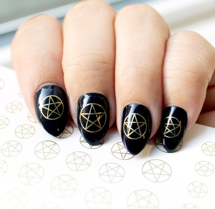 31 Gold PENTACLES Nail Art  Metallic Gold Waterslide Transfer Decal Stickers.