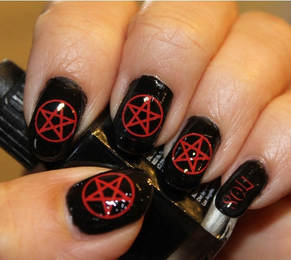 31 Red PENTACLE Nail Art - Opaque Waterslide Decals Not Stickers or Vinyl -