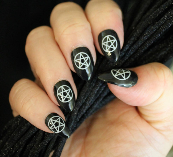 31 WHITE PENTACLES Nail Art Waterslide Decals Not Stickers or Vinyl - Wiccan