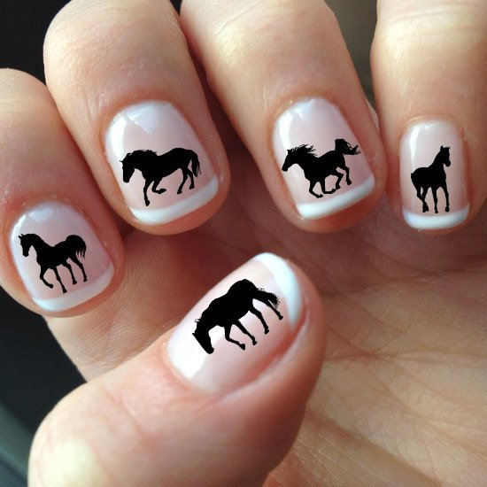 60 Black HORSE Nail Art (HS1) SILHOUETTES - Water Slide Transfer Decals Not
