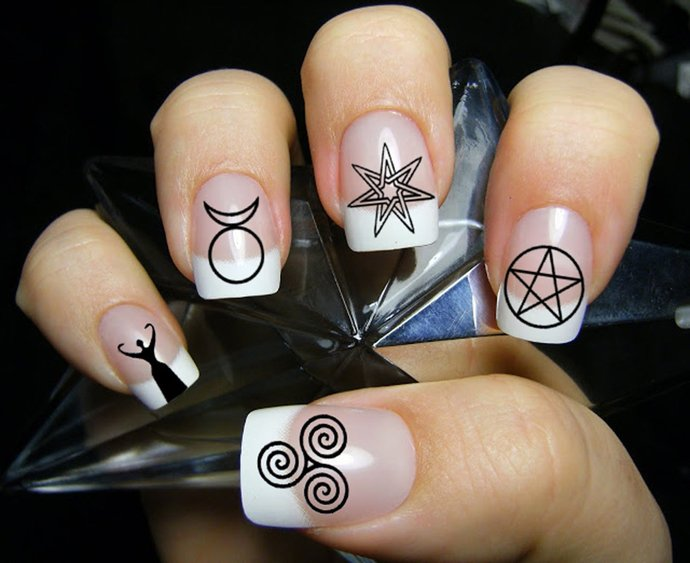 63 Mixed WICCAN Symbols Nail Art (MWB) Magic Goth - Waterslide Transfer Decals -