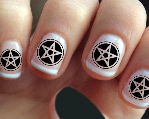 63 PENTACLES Nail Art Decals MEGAPACK - Black Pentagram  Waterslide Transfers -