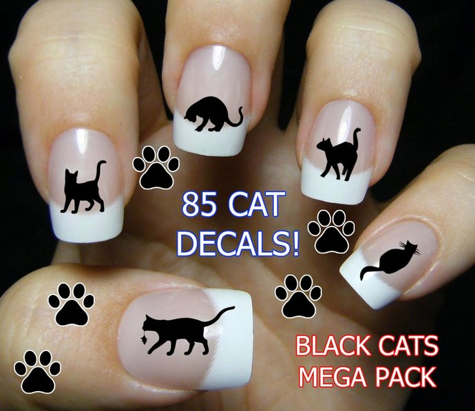 BLACK CAT Nail Art, Gifts for Cat Lovers, Black Cat Nails, Cat Nail Stickers,