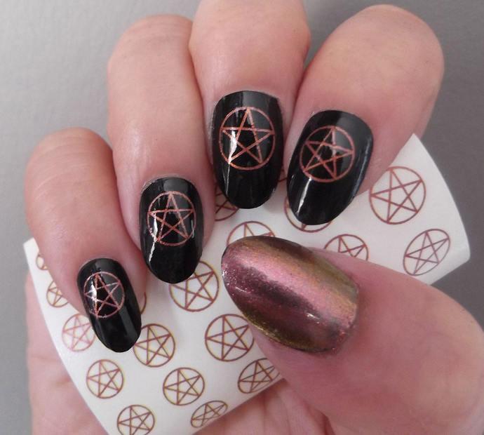 Copper-Rose PENTACLES Nail Decal  31 Metallic Pentagram Nail Art Waterslide
