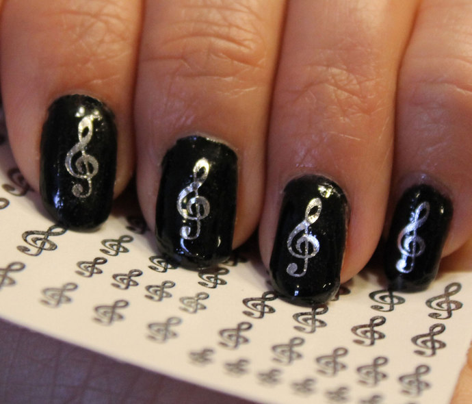 42 Silver TREBLE CLEF Music Note Nail Art (Gcs) G Clef Rocker WaterSlide Decals