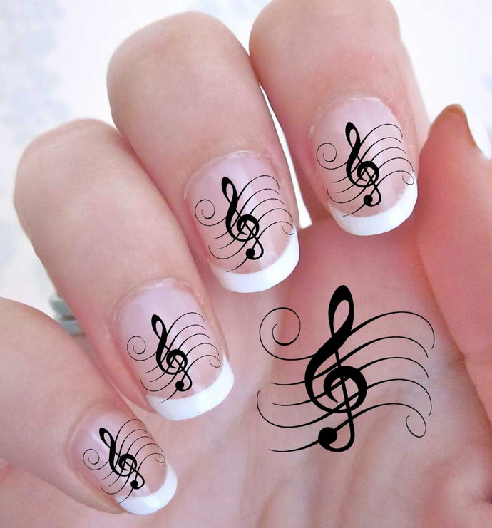 42 TREBLE CLEF Music Note Nail Art (Gcl) - G Clef Rocker WaterSlide Decals - Not