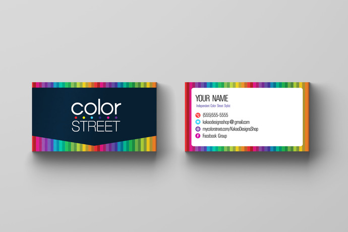 Color Street Nail Stylist Business Card - Colorful Stripes