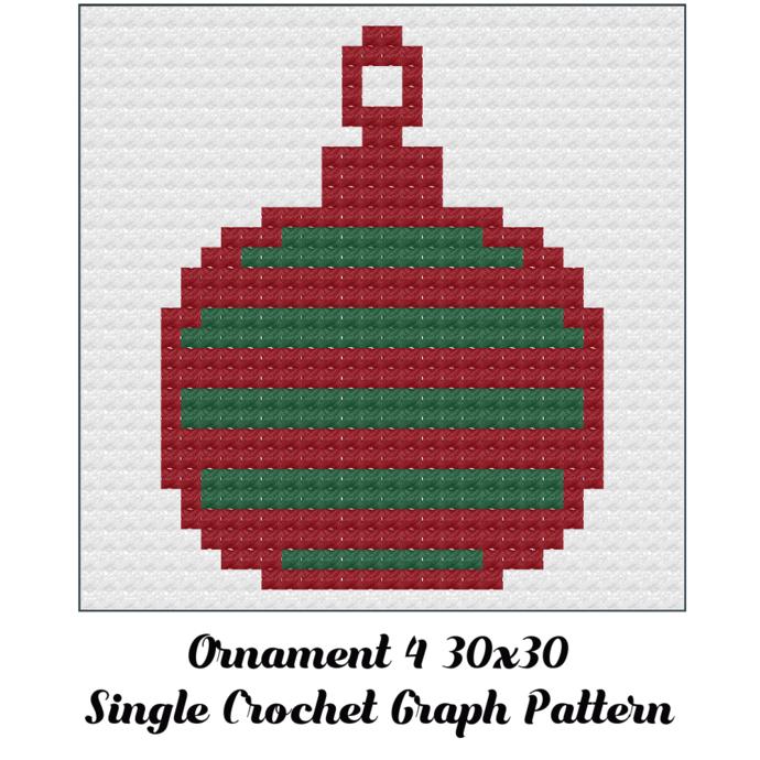 Ornament Dishcloth Crochet Graph Pattern 30x30
