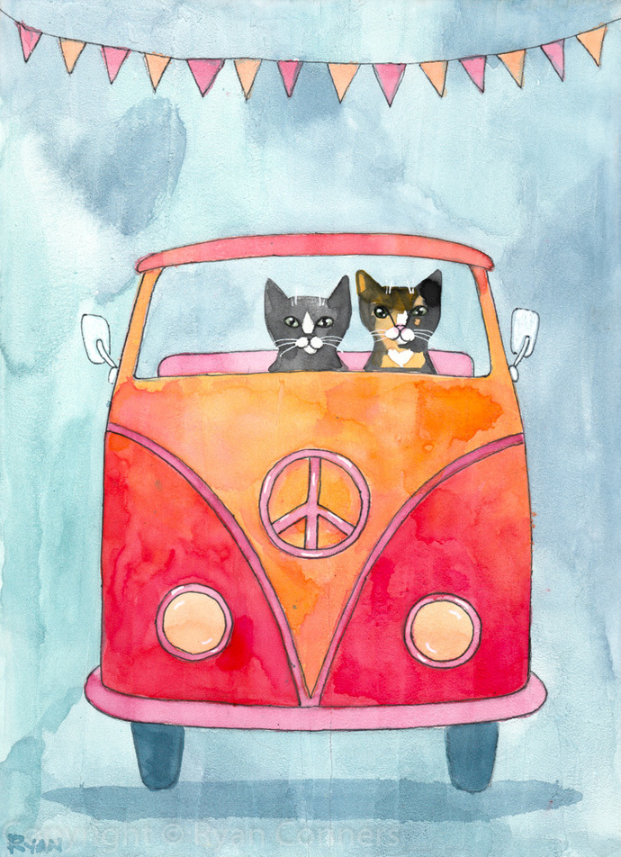 Cats Road Trip Original Watercolor On Wood Cat Folk Art Painting