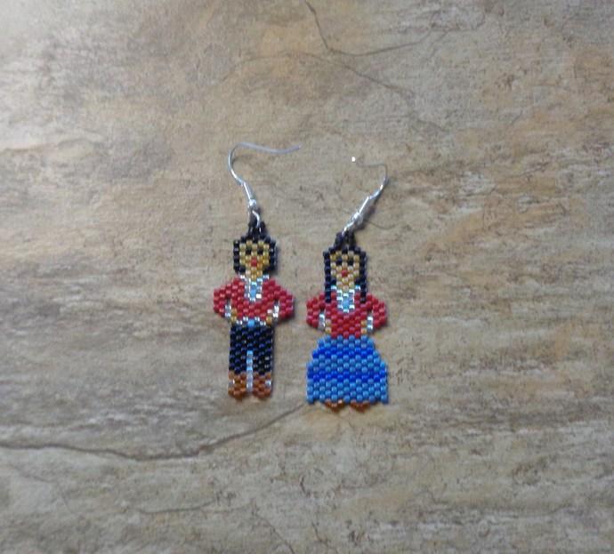 Boy And Girl Earrings Hand Made Seed Beaded Bead Work