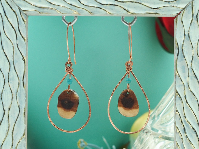Copper Teardrop Dangles with Arizona Manzanita (18-018)