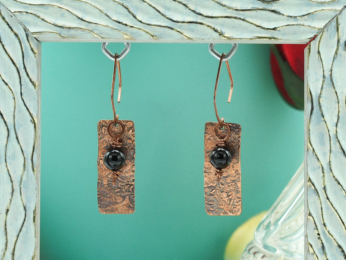 Textured Copper Dangle Earrings with Black Tourmaline (18-002)