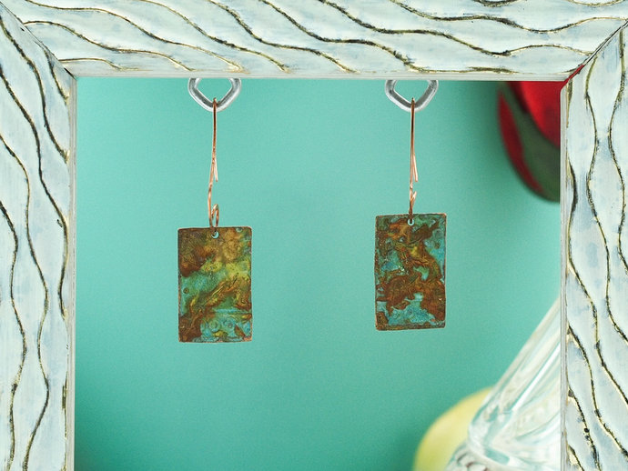 Copper Earrings with Turquoise Patina (18-009)
