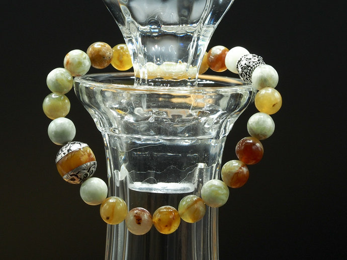 Flower Jade with Tibetan Copal Bead Bracelet (18-025)