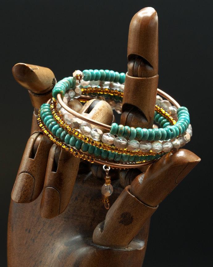 Czech Glass Beads w/ Turquoise Rondelles Wrap Bracelet (18-026)