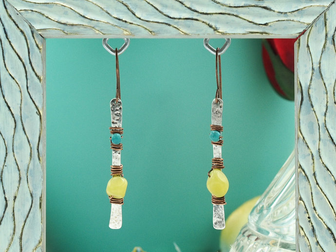 Sterling Silver Dangle Earrings with Serpentine Jade & Turquoise Magnesite