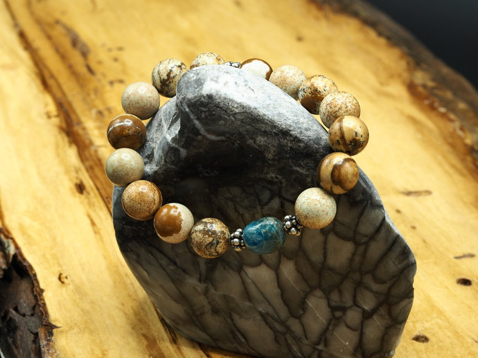 Picture Jasper with Blue Apatite Bead Bracelet (18-022)