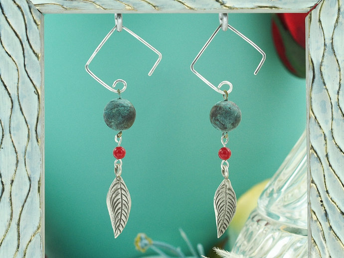 Sterling Silver Feathers w/ Patinaed Copper Dangle Earrings (18-013)