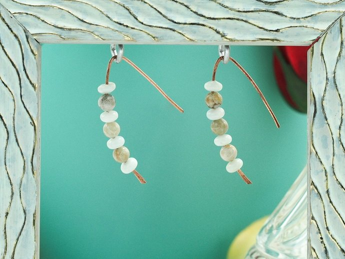 Fossil Coral Jasper & Amazonite on Copper Earrings (18-019)
