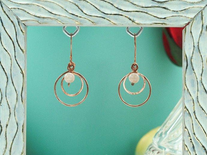 Peach Moonstone & Copper Hoop Dangles (18-017)