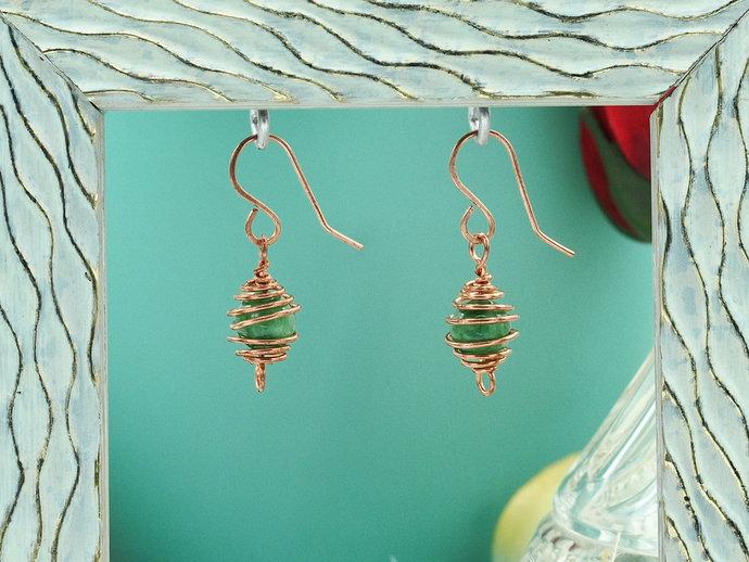 Copper Caged Jade Dangle Earrings (18-003