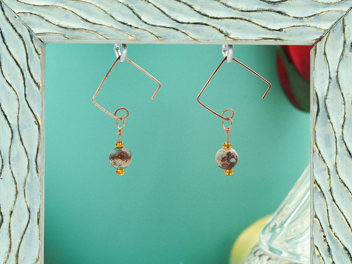 Impression Jasper & Copper Dangle Earrings (18-020)