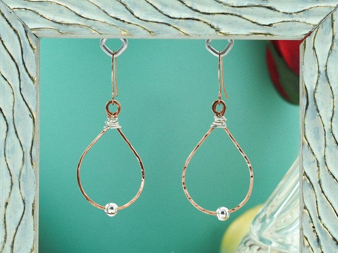 Hammered Copper & Sterling Silver Teardrops (18-007)