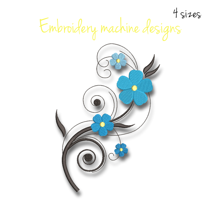 Flower machine embroidery design pes