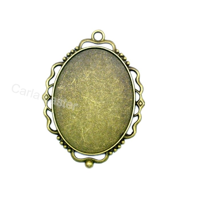 5 Large bronze bezel, 40x30 cameo setting, fancy edge pendant tray, cameo