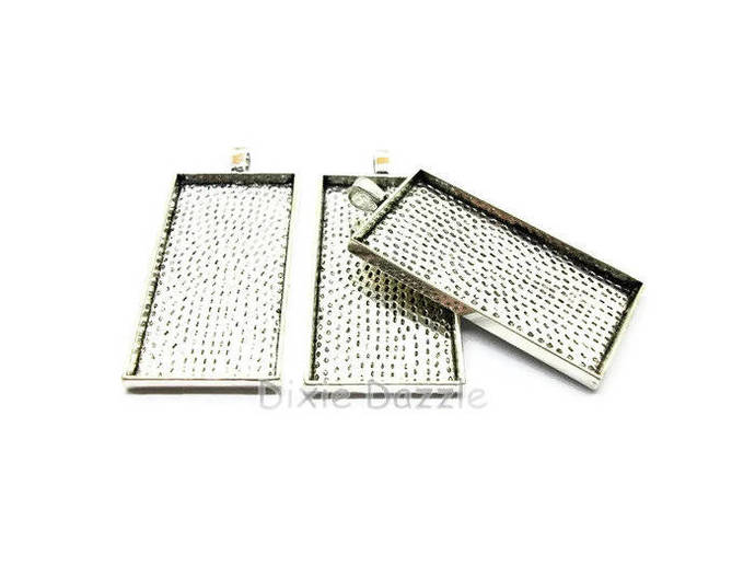 50 pcs domino TRAYS ONLY. 25x50, 1 x 2 inch  rectangle bezel for 24x48 glass