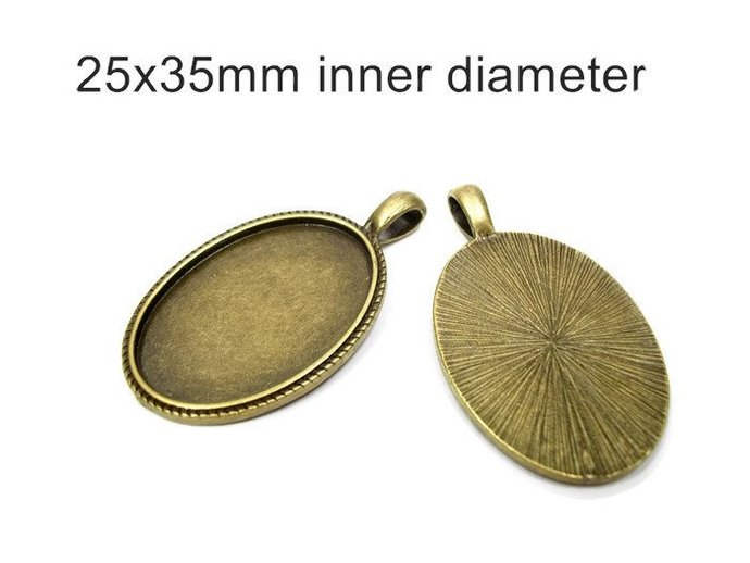 50 oval settings, 25x35 cameo setting, bronze pendant, bronze bezel, bezel,