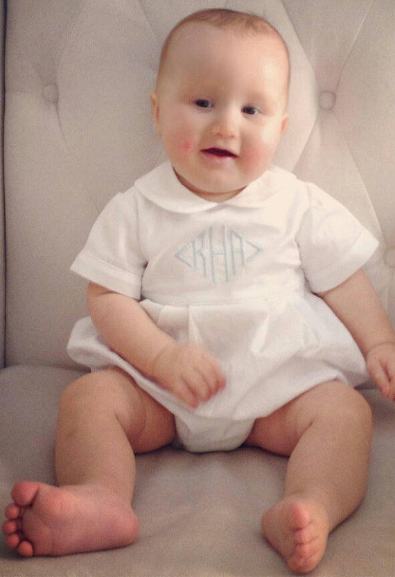 50eb8f32d Baby Boy Baptism Romper, Baptism Bubble Outfit, Baby Boy Christening Outfit,