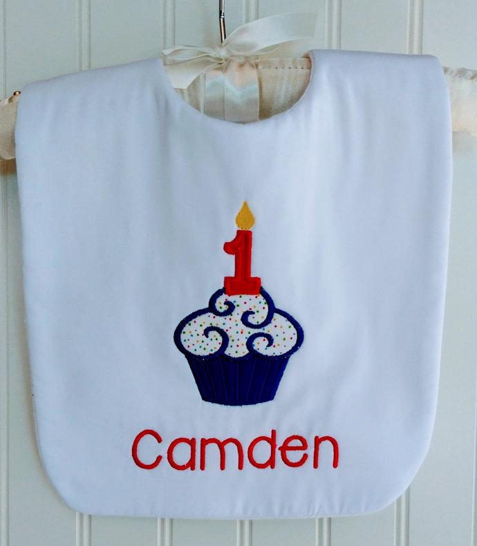 First Birthday Bib Cupcake Cake Smash Bib Free Personalization