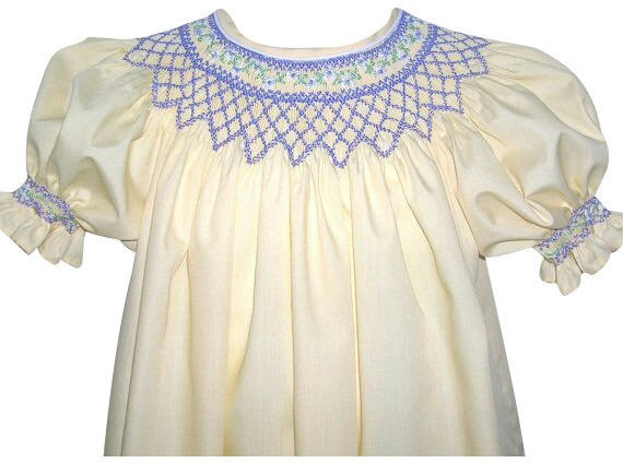 Girls Smocked Bishop Dress 12 months to 4yrs, Buttercup Yellow and Periwinkle